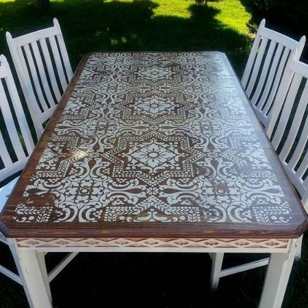 Using a stencil is a wonderfully inexpensive way to dress up a plain table, or give new life to old furniture. Choose a design that reflects your own personal style, or be quirky and go over the top and make any table an eye-catching, conversation piece.