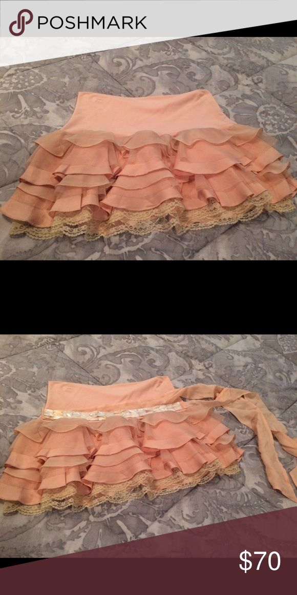 Abercrombie and Fitch skirt and shell belt Blush colored Abercrombie and Fitch layered skirt. Comes with shell belt. Size Medium. Abercrombie & Fitch Skirts Mini