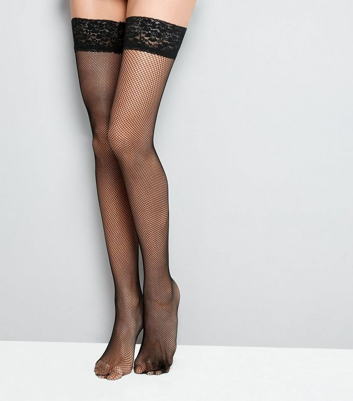 Z2018  Black Fishnet Lace Trim Hold Up Stockings | New Look