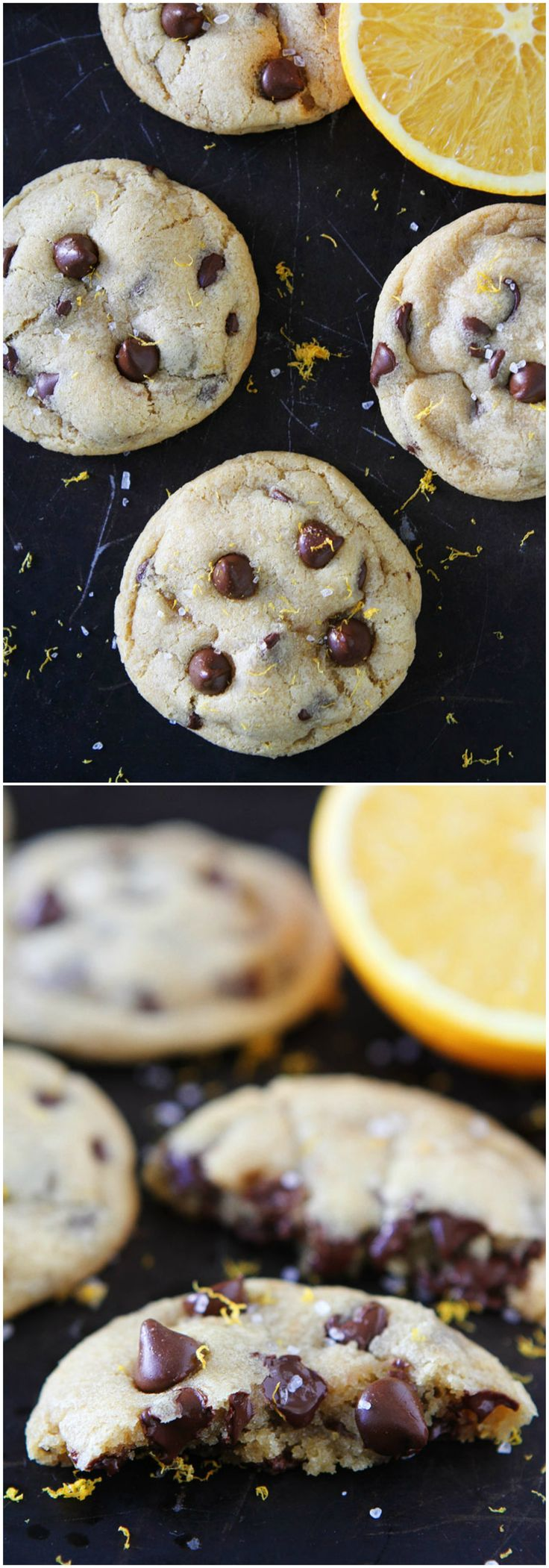 Orange Chocolate Chip Cookies Recipe on twopeasandtheirpo... Soft and chewy chocolate chip cookies with a hint of orange and a sprinkling of sea salt. These cookies are perfection!