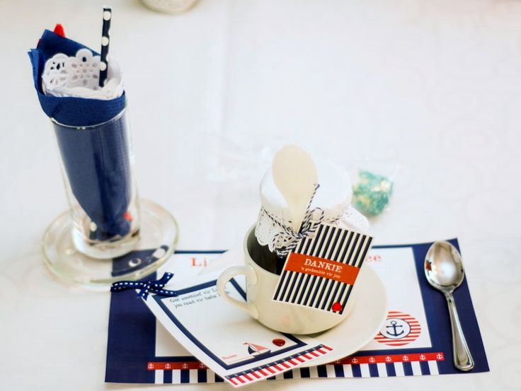 Nautical Themed Place Setting with Napkins and Doily in a Glass, Paper Placemat, Advice Card and Thank you Favour