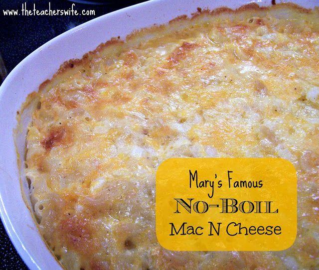 Goed gelukt: gemaakt met gebakken spekjes en hamblokjes in de boter, gewone geraspte kaas. Wrsch iets te weinig melk, want pasta lag bloot en werd dus iets te harde bovenlaag zo. Volgende keer folie niet verwijderen!The Teacher's Wife: Mary's Famous No-Boil Mac N Cheese