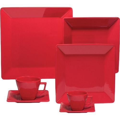 Aparelho de Jantar 42 peças Porcelana Vermelho - Oxford Porcelanas