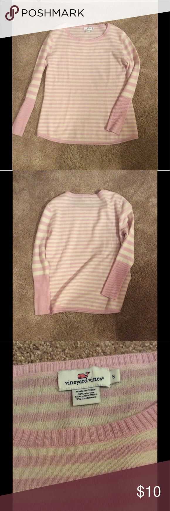 Striped lightweight sweater Light pink and white striped Vineyard Vines long sleeve, lightweight sweater. Only worn a few times but there is a decent amount of pilling near the arms (as seen in 4th pic) but nothing a good comb or pill remover can't fix. Crew neck, verging on boat neck. Super cute and soft. Make me an offer! Size small but Vineyard Vines tends to run large (I'm usually a medium) Vineyard Vines Sweaters Crew & Scoop Necks