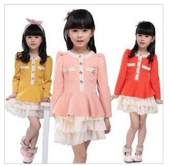 vintage girls dress, cute fashion autumn baby skirt