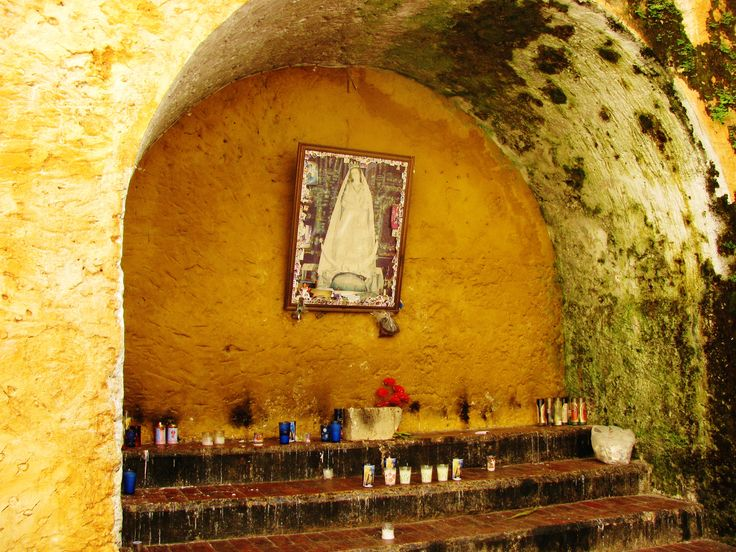 Outdoor shrine to Our Lady of Izamal on the convent grounds