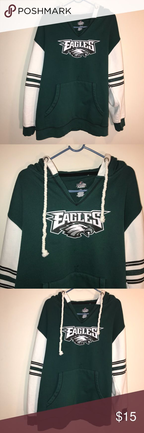 Philadelphia Eagles Hoodie HELLO EVERYONE, I AM OFFERING AN AWESOME  Philadelphia Eagles Hoodie    This Philadelphia Eagles Hoodie is In Great Condition. V Neck cutout by the neck., Size is a XL    Please SEE THE PICTURES FOR MORE DETAIL       Thanks For looking    ALL ITEMS WILL BE PACKED SECURELY, Majestic Shirts Sweatshirts & Hoodies