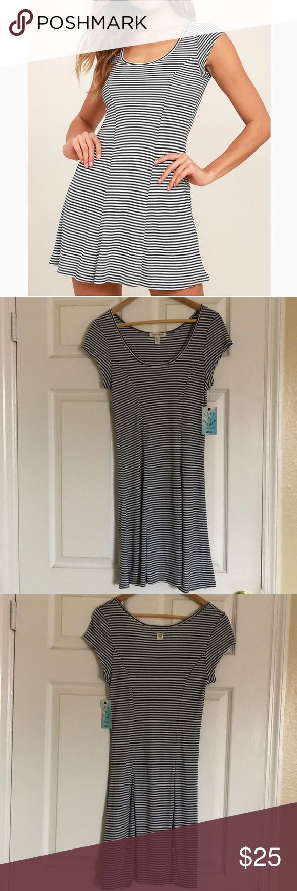 """NEW Billabong """"same love"""" short sleeve dress New billabong same love black and white striped skater dress. It has a scooped neckline with short sleeves. This will be your new go to dress.   50% polyester  50% rayon  Measurements (all approximately)  Length: 32.5 Width (underarm to underarm): 16  Skirt: 29.5 Sleeves: 4  Please let me know if you have any questions. I am open to reasonable offers. Billabong Dresses"""