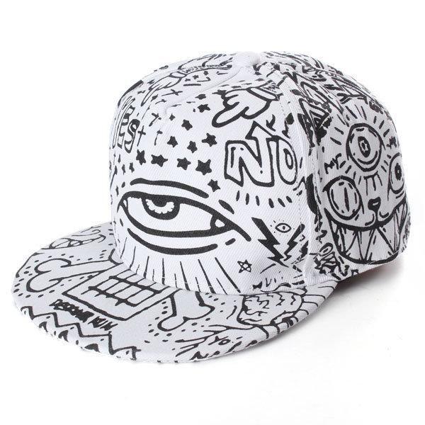 b2915f999 Men Women Hip-Hop Baseball Flat Bill Hat Graffiti Hippie Snapback ...