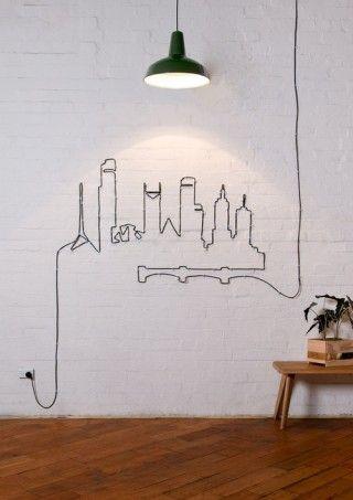 decora tu pared con el cable de la lampara - GENIALE!!!