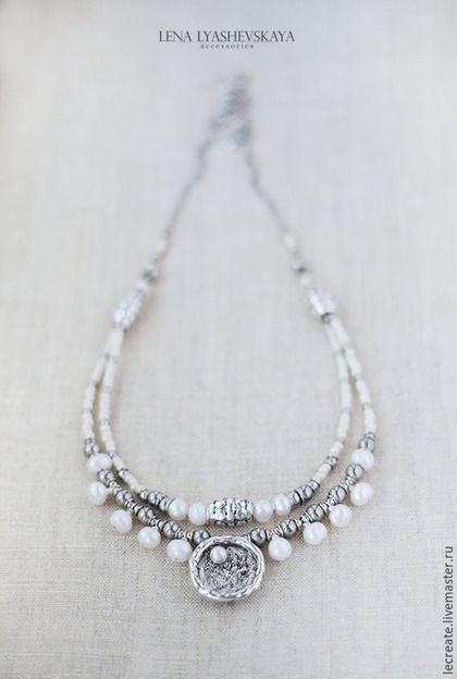 """Колье, бусы ручной работы. Ярмарка Мастеров - ручная работа. Купить Ожерелье """"ЖЕМЧУЖНЫЙ БЕРЕГ"""". Handmade. Белый, богемное ожерелье"""