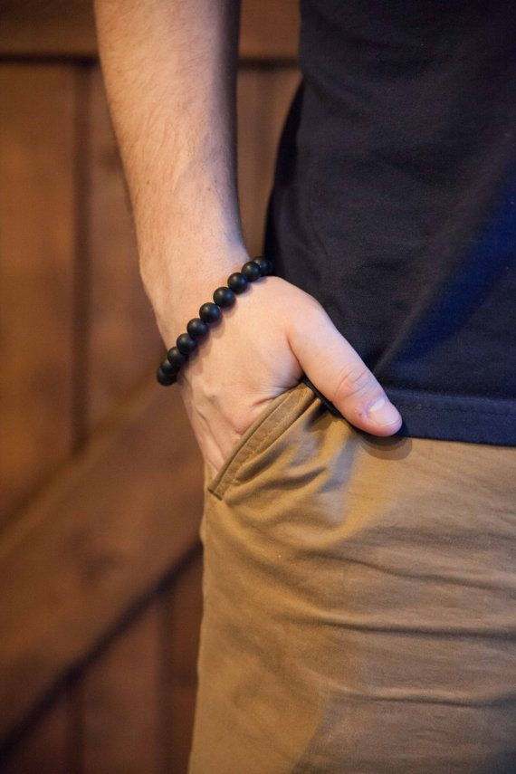 Black bracelet for him / Men's black yoga bracelet / black