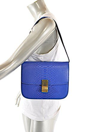 ffa4e2635bd Céline Classic Box Indigo Med Gold Hdwr. Remove Strap Blue Python Skin  Leather Shoulder Bag. Get one of the hottest styles of the season!