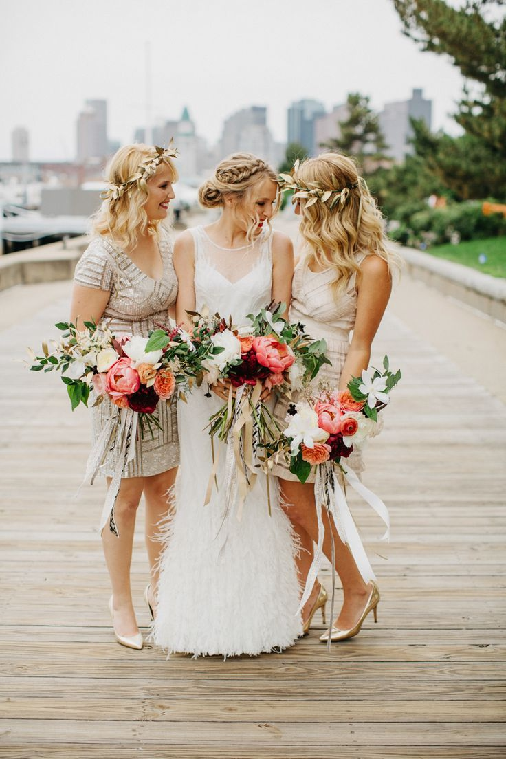 Photography : Dylan & Sara Photography Read More on SMP: http://www.stylemepretty.com/2016/04/08/a-navy-yard-wedding-with-boston-skyline-views/