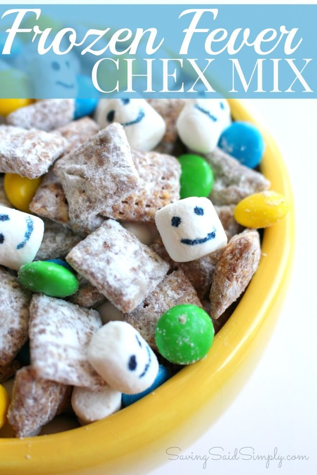 Frozen Fever Inspired Chex Mix Recipe, perfect for a Disney party! (sponsored)