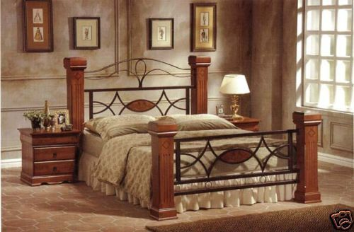 new king size bed frame metal oak mahogany wooden posts posts beds and metals - Metal King Bed Frame