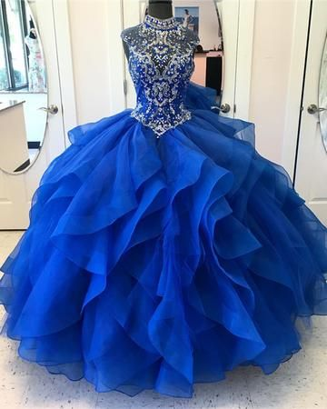 e71055d0b3 Elegant Tulle Royal Blue Crystal Beading Quinceanera Dress Ball Gown ...
