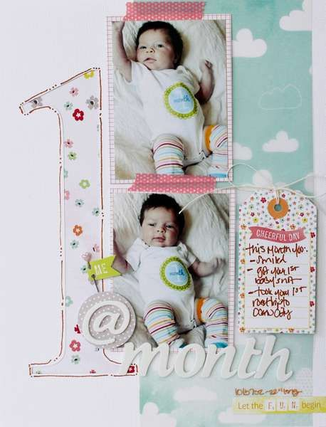 scrapbook layout featuring tag technique would be cute to do for every month of the first year for his scrapbook