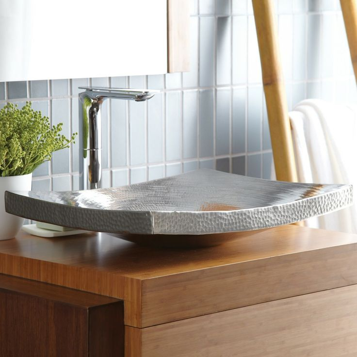 Copper Lavatory Sink. Brushed Nickel Finish. Hand Hammered. By Kohani.  Contemporary BathroomsContemporary ...