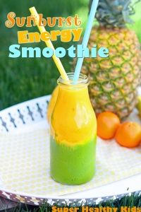 Sunburst Energy Smoothie   Healthy Ideas for Kids. Add a handful of spinach to half of it to make the green. :)