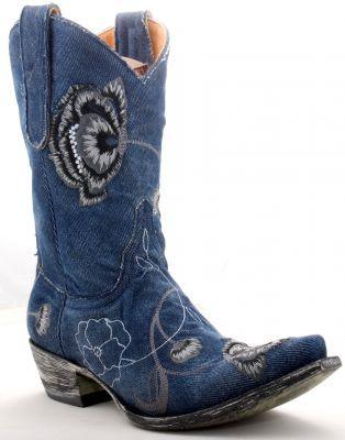 Blue Denim Cowboy Boots And Cowboys On Pinterest