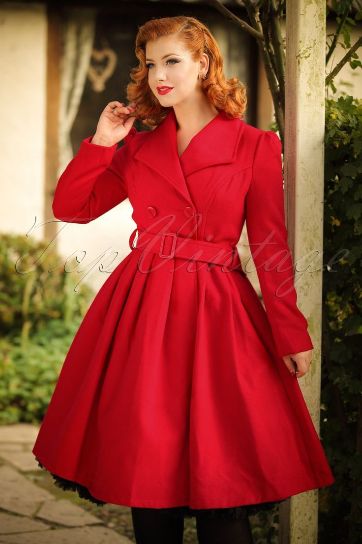 50s Rita Swing Coat in Bright Red £89.86 AT Vintagedancer.com