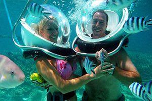 Undersea walk in the north Mauritius Island