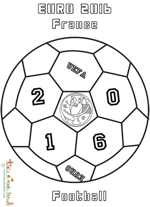 Coloriage d'un ballon Euro 2016 de football                                                                                                                                                                                 Plus