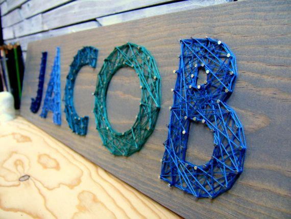4 Letter Modern String Art Wooden Name Tablet Made to by NineRed