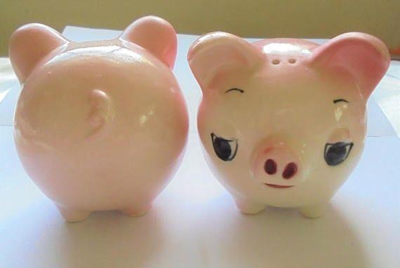 vintage salt pepper shakers Pink Pigs ceramic midcentury