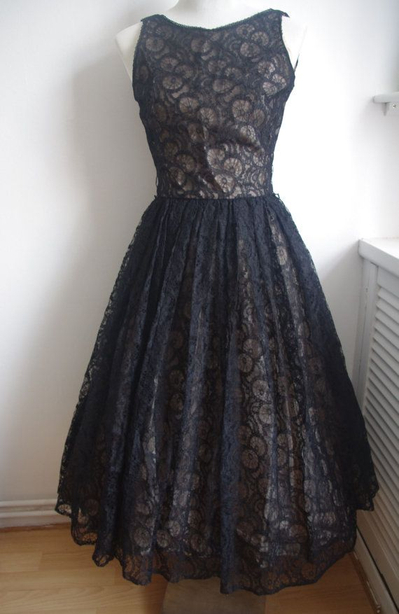 1950s Art Deco Spider Web Lace Dress Black And Champagne