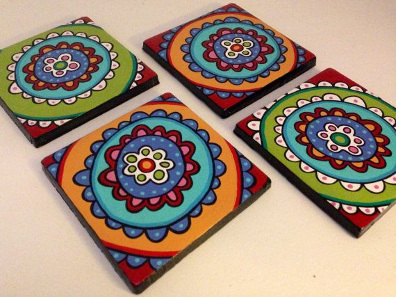 Hand Painted Colorful Flower Tile Coaster Set