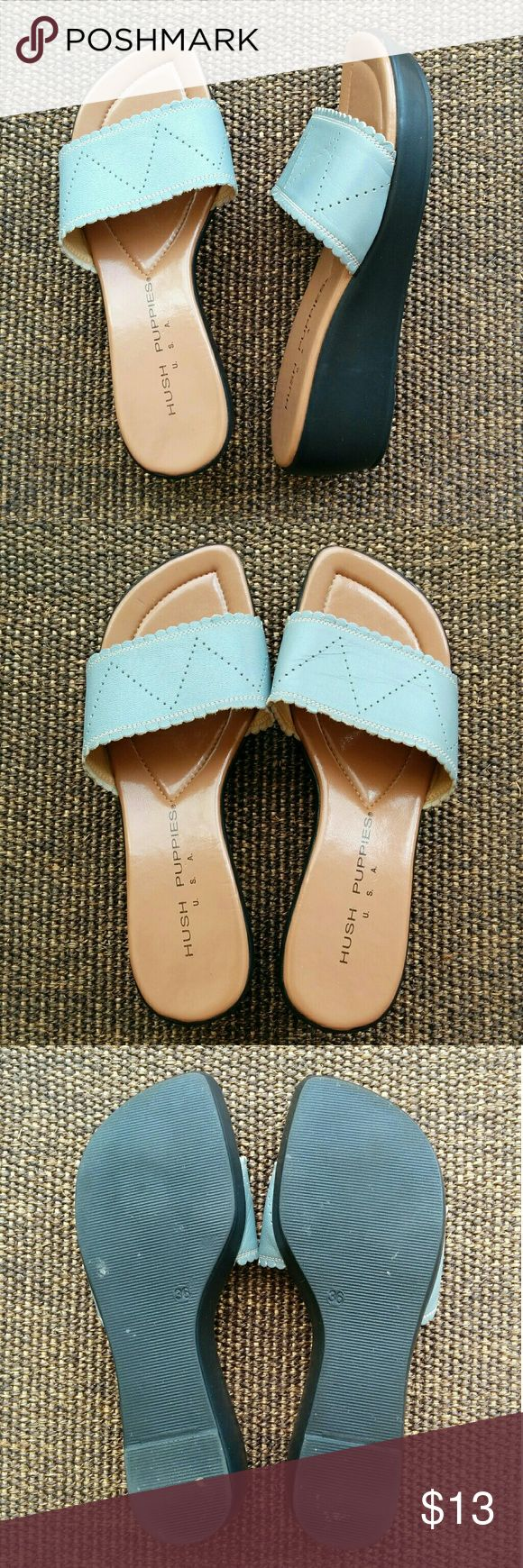 """Hush Puppies wedge sandals These adorable wedge sandals look great with any outfit and are super comfortable! The top part is light blue and made with leather. The heel is 2"""" high and the front part is 3/4"""" high. Fits true to size. In very good condition! Hush Puppies Shoes Sandals"""
