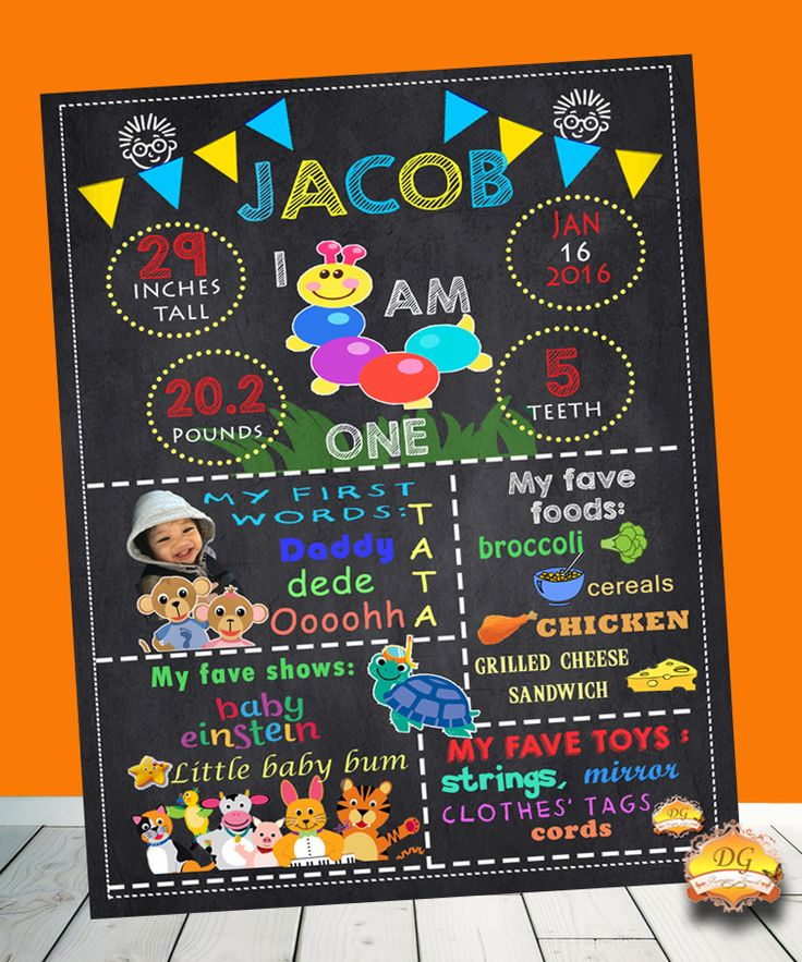 BABY EINSTEIN BIRTHDAY CHALKBOARD★ FULLY CUSTOMIZABLE (theme, character, color, font, size) for a birthday party.   Place it in a frame or print it as a poster.  It is the perfect way to treasure and preserve special memories and milestones. ★Send us an email at dgprecioustouch at gmail.com or find us on Facebook as DG Precious Touch for your requests and details. ★ QUICK RESPONSE GUARANTEED! ★ Within 24 - 48 hours, you will receive the file!