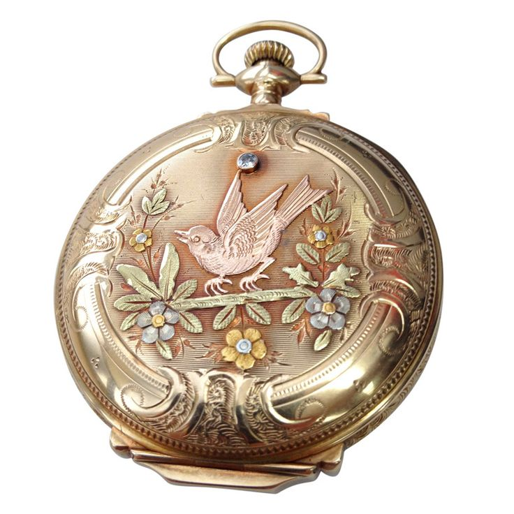 ELGIN Hunter Case 14k Yellow, White And Rose Gold And Diamond Pocket Watch  c.1917