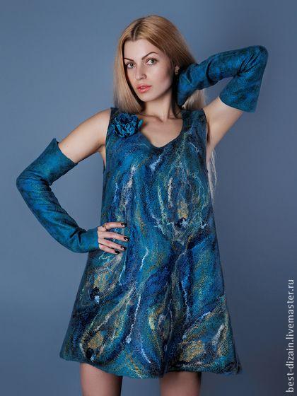 """Валяное платье """"Перо павлина"""" - тёмно-синий,валяное платье,платье,платье коктейльное"""