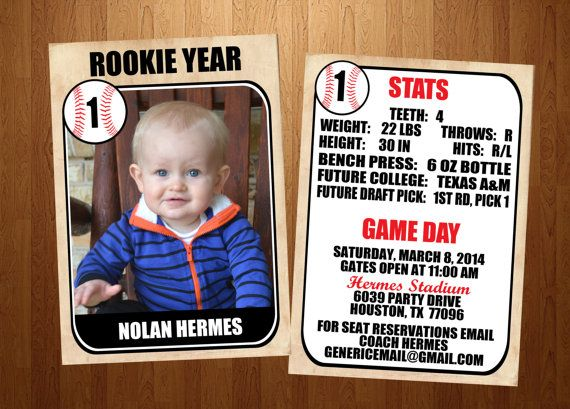 5x7 Rookie of the Year Vintage Baseball Card First Birthday Invitation- Front and Back