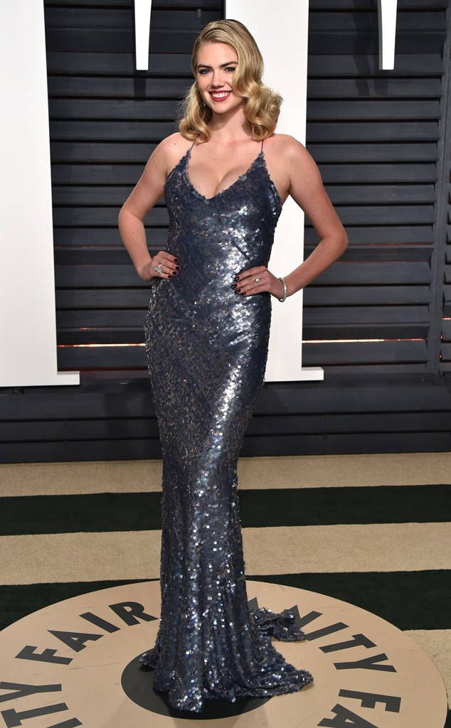 Kate Upton from 2017 Vanity Fair Oscars After-Party  TheSports Illustrated Swimsuitcover girl dazzled in a sequin gunmetal gown.