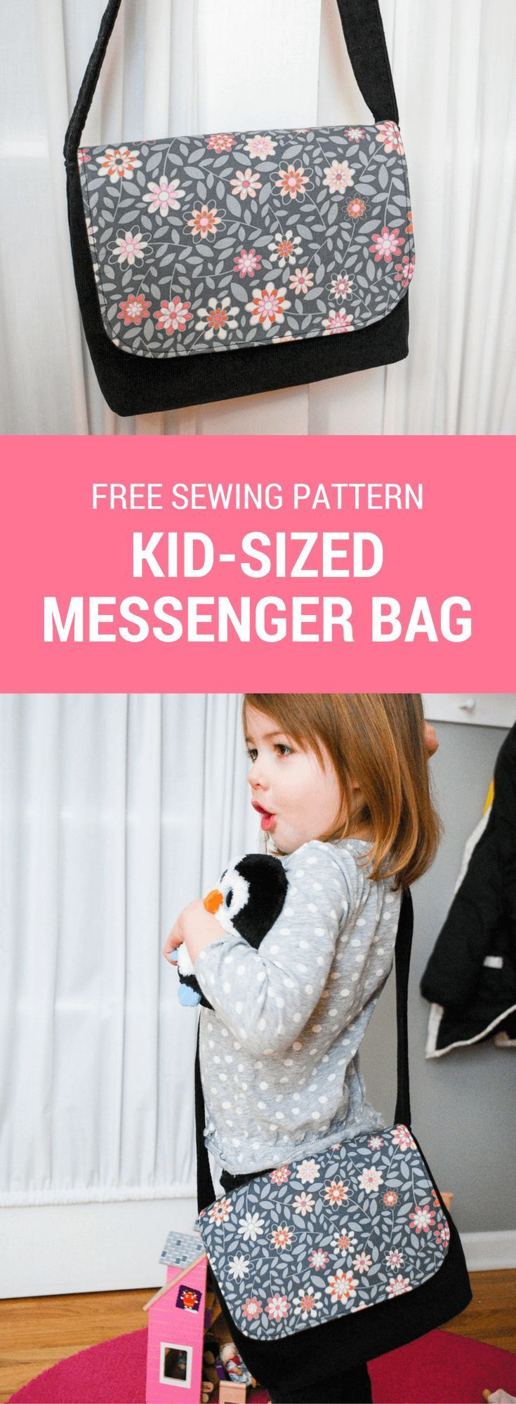 Free sewing pattern for a kid-sized messenger bag. It's an easy DIY sewing project for beginners and makes a great DIY gift for kids!