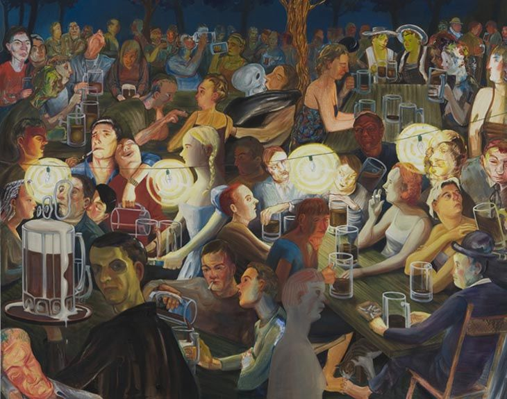 Beer garden at night art artist new museum