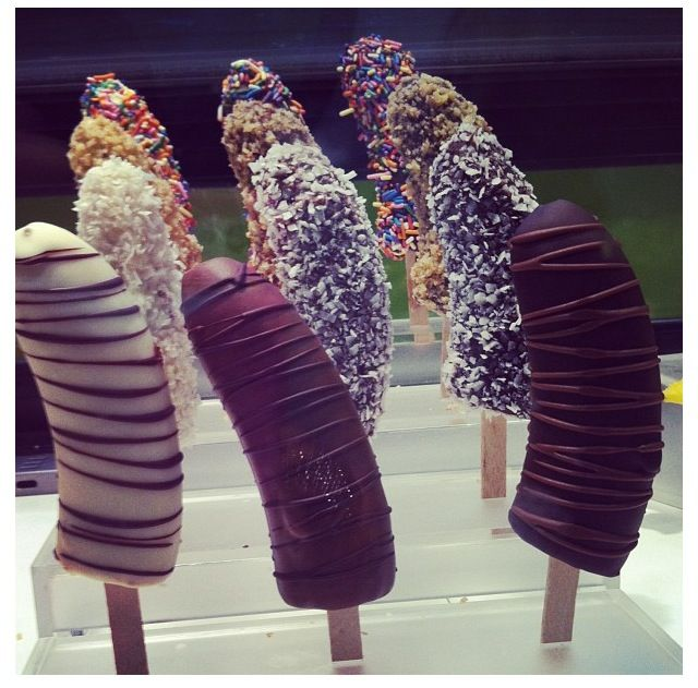 Great desert idea for your bachelorette party. Chocolate covered frozen bananas on a stick