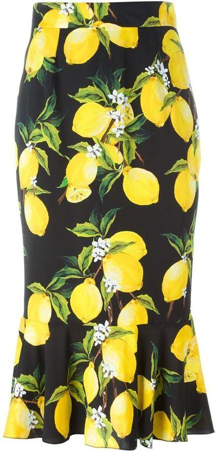 Dolce & Gabbana lemon print skirt  #sponsored