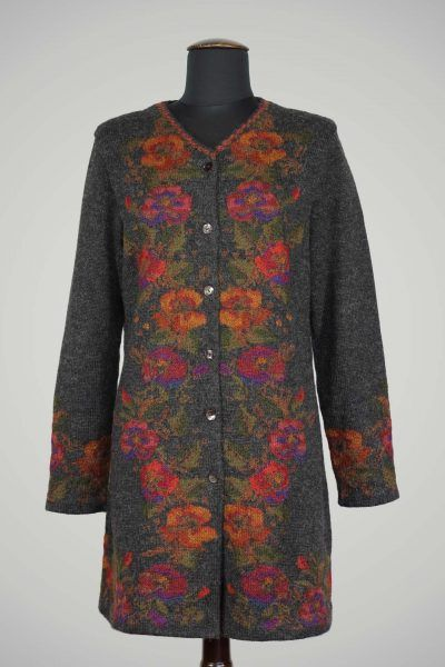 Lang gebreid vest jas gebloemd dames alpaca wol grijs rood oranje bloemen natuurlijke mode alpaca wol