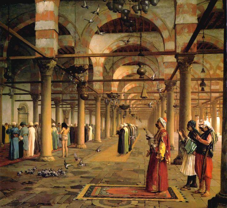 Картины европейских художников ориенталистов конца 19 века. Почти все картины кликабельны. Жан-Леон Жером. Молитва в каирской мечети Амра ибн аль-Аса Артур фон…