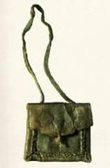 The Novgorod historical museum. An archeological find. Purse XVth cent.