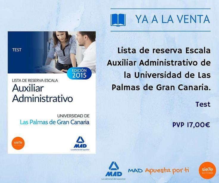 #yaalaventa Lista Reserva Escala Auxiliar Administrativo Universidad de las Palmas.Test.http://www.mad.es/LISTA-DE-RESERVA-ESCALA-AUXILIAR-ADMINIST……