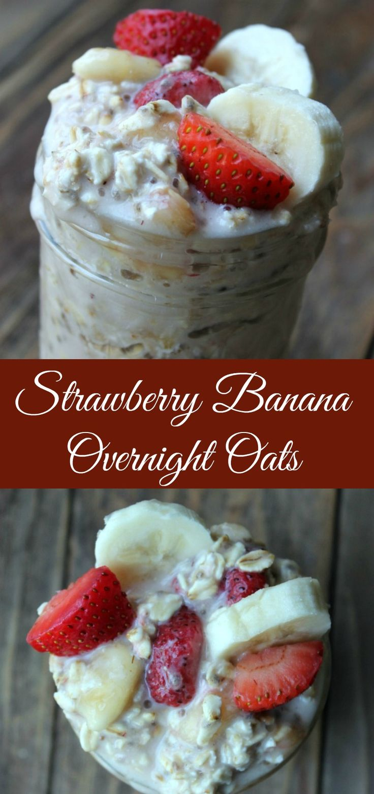 Strawberry Banana Overnight Oats. Creamy and delicious recipe to use up bananas or strawberries. These can be made 3-5 days ahead of time for an easy healthy breakfast during the week.