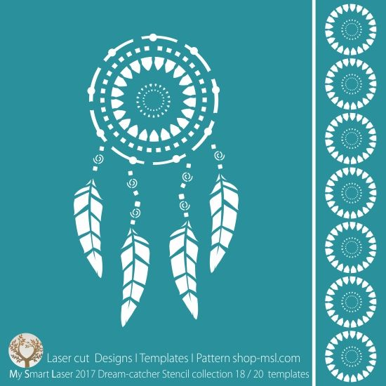 BUY Template - Dream catcher stencil design for laser cutting. 20 designer borders and main mandala design.
