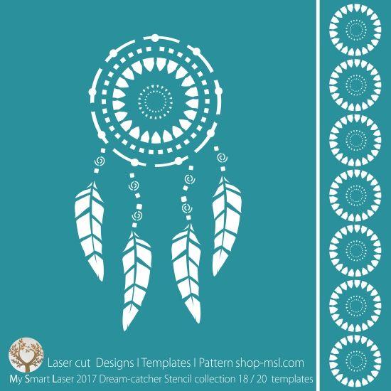 BUY Template - Dream catcher stencil design for laser cutting. 20 designer borders and main mandala design.