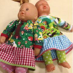Freebook für 44cm Puppen Leggings, Kleid/Shirt
